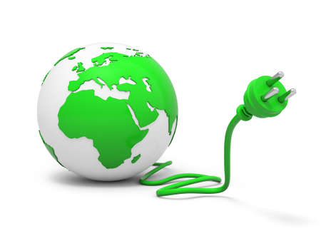 electric green: 3d green globe sphere with green plug