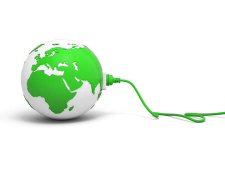 electrical outlet: 3d green globe sphere with green plug