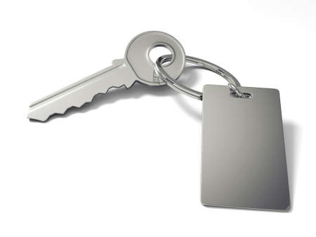 empty keyhole: 3d key with blank key tag isolated on white  Stock Photo