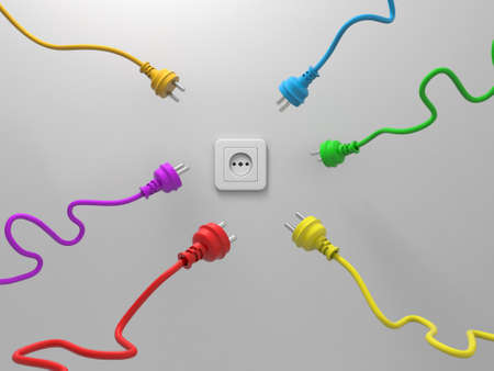 3d colorful plugs and one socket isolated on white