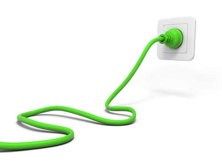 3 d のグリーン プラグと白で隔離白ソケット