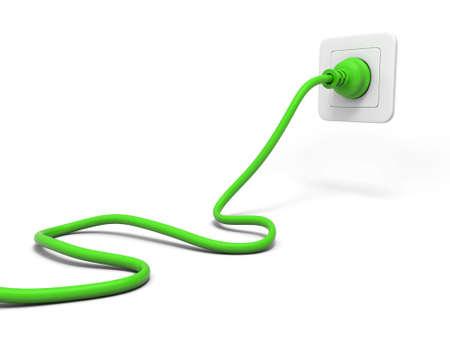 3d groene stekker en witte aansluiting geïsoleerd op wit Stockfoto