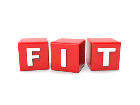 sports training: Inscription on the cubes of red,fit Stock Photo