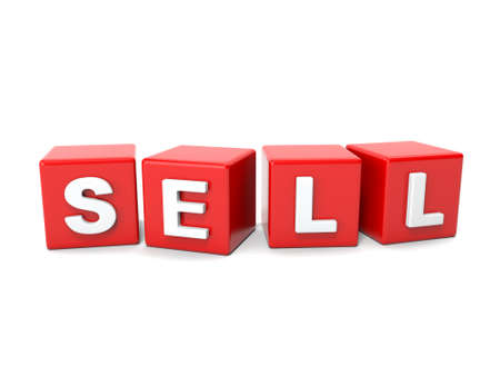 brokers: Inscription on the cubes of red,sell Stock Photo