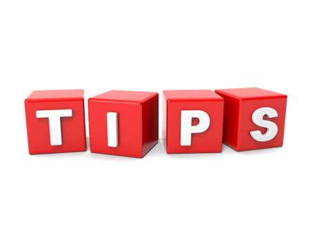 Inscriptie op de blokjes van rode, tips