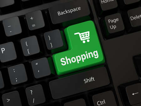 e commerce icon: Keyboard with a word shopping