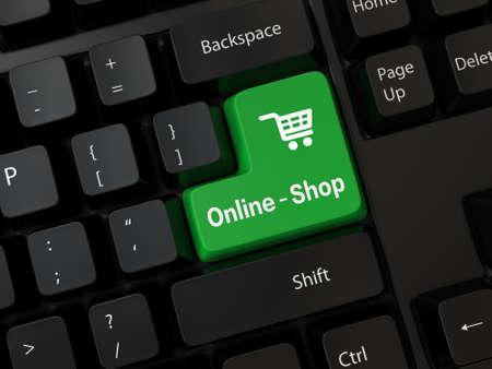 Tastatur mit einem Wort Online-Shop Standard-Bild - 24849595
