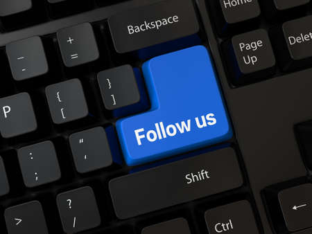 follow us: Keyboard with a word follow us