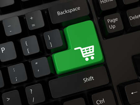 online shopping concepts with cart symbol Stock Photo - 24849726