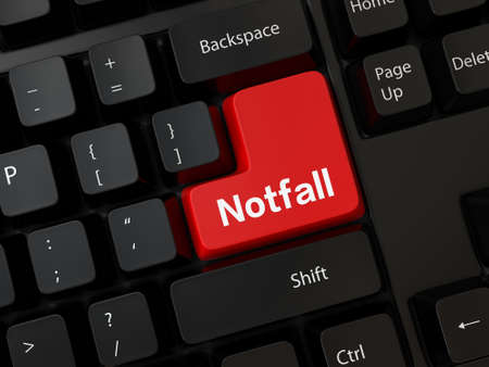 retouch: Keyboard with a word Notfall Stock Photo