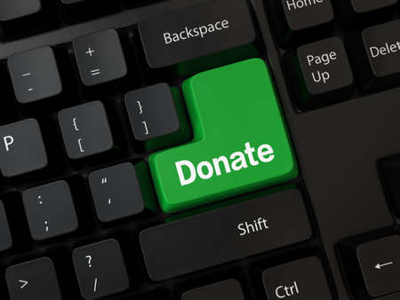 solicitation: Keyboard with a word donate Stock Photo