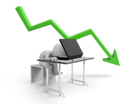 sad businessman sitting with falling graph photo