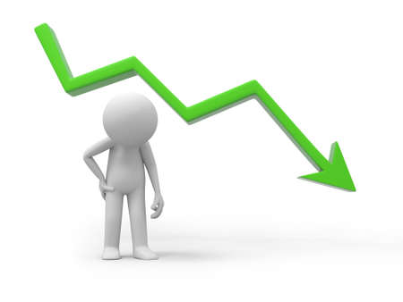 sad businessman standing with falling graph photo