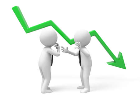 bankruptcy: Two businessmen talking with falling graph
