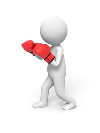 3d people with red boxing gloves  Boxer