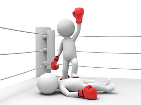 3d personnes gagnantes d'un match de boxe et avec son pied sur son adversaire