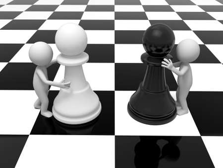 chessboard: 3d people with pieces on a chessboard
