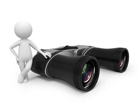 3D kleine mensen met een telescoop Stockfoto