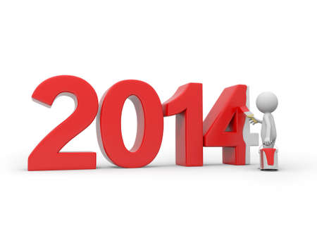3d people, new year coming photo