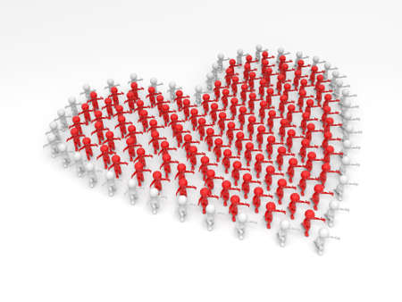 3d people,heart, Large crowd of people photo