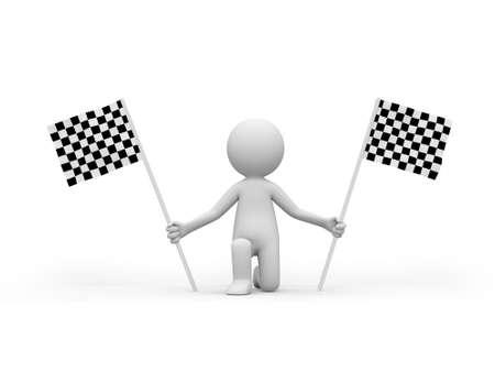checker flag: 3d personas que ocupan la bandera de Checker