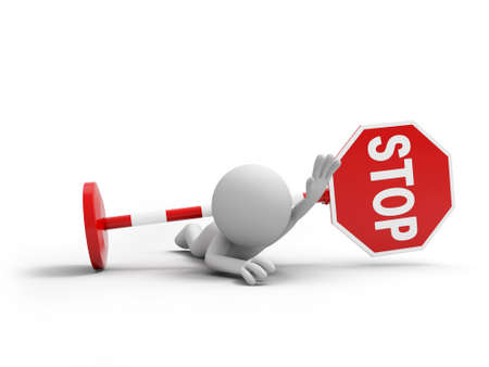 3D people with a stop sign Stock Photo