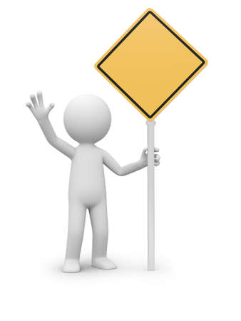 danger symbol: 3d people holding a empty road sign Stock Photo