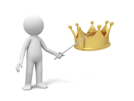 A 3d  people point a crown photo