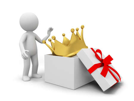 A big crown in a gift box photo