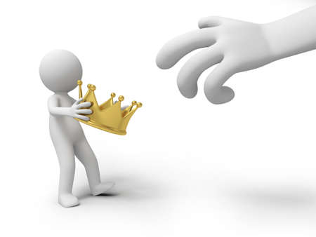 robbing: A big hand robbing a crown