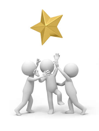 star award: Three people are competing for  a gold star Stock Photo