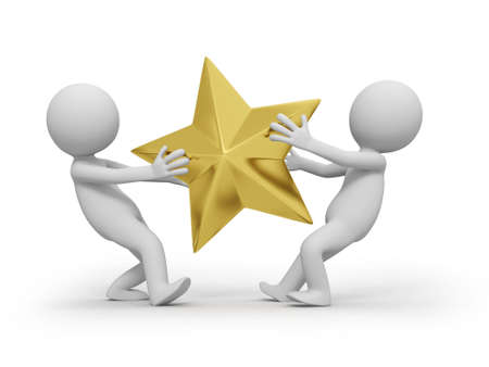 star award: Two people are competing for  a gold star