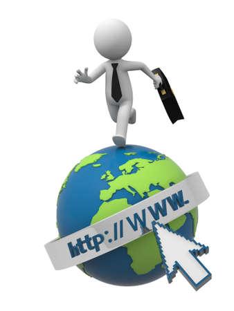 A 3d businessman running on an internet model