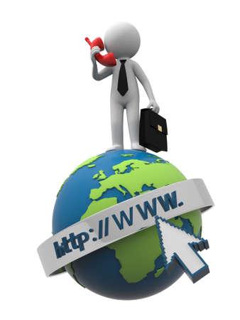 domains: A 3d businessman standing on an internet model, calling