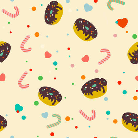 Seamless pattern with candies and sweets Vector