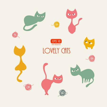 Stylish cats pattern  Vector illustration Vector