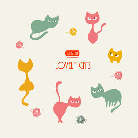Stylish cats pattern  Vector illustration Vector
