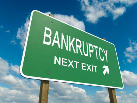 Road sign to bankruptcy  Imagens