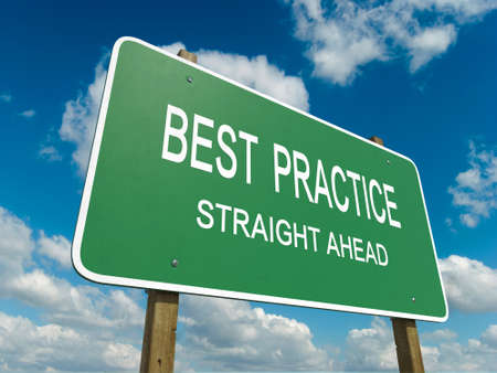 influence: Road sign to best practice Stock Photo