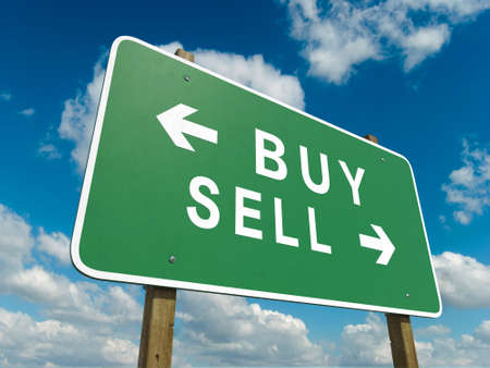 sell: Road sign to buy or sell Stock Photo