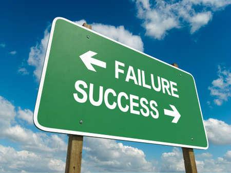 failure sign: Road sign to failure or success Stock Photo