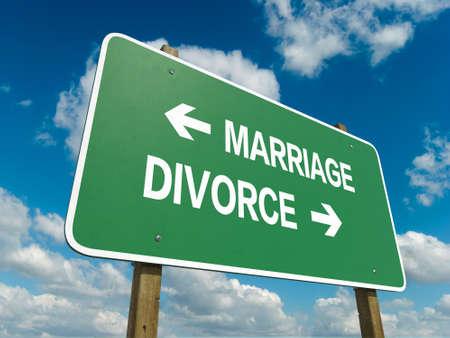 Signe de route pour le mariage ou le divorce