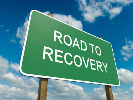 road to recovery: Road sign to recovery