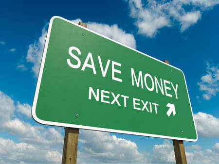 consuming: Road sign to save money Stock Photo
