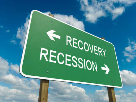 road to recovery: Road sign to recovery or recession