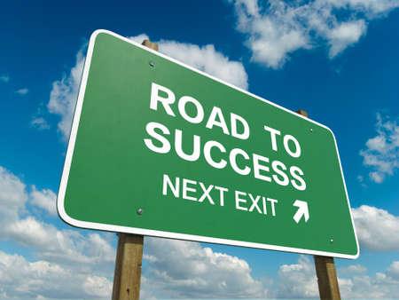 Verkeersbord aan succes Stockfoto