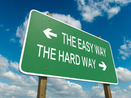 Road sign to the easy way photo