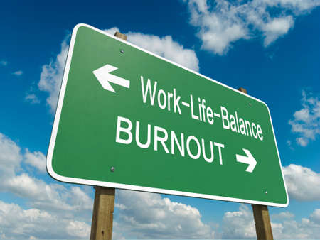 Road sign to work life balance Stock Photo