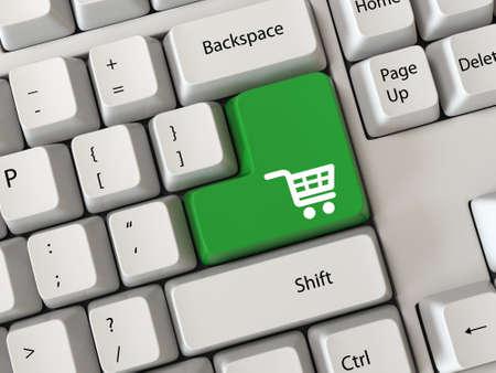 tecla enter: conceptos de compras en línea con la compra símbolo