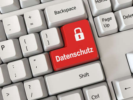 Keyboard with a word Datenschutz